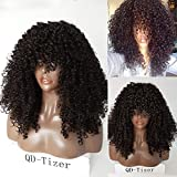 QD-Tizer Natural Color 180 Density Synthetic No Lace Wigs Afro Kinky Curly Hair with Silk Top for Beauty Women 22""