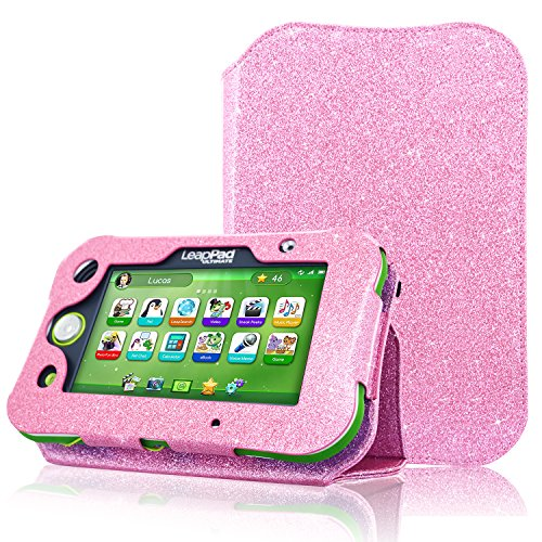 - ACdream Protective Folio Leather Tablet Case for LeapPad Ultimate Kids Learning Tablet(2017 Release), Light Pink Star of Paris