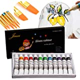 Jinzi Stain Glass Paint with 10pcs Brush, Non-Toxic Window Paint, High-Flow Glass Paint, Paint for Pouring on Canvas, Glass,