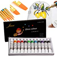 Jinzi Stain Glass Paint, Non-Toxic Window Paint, Permanent Glass Paint Kit, Lacquer Based for Superior Stained Glass Art…