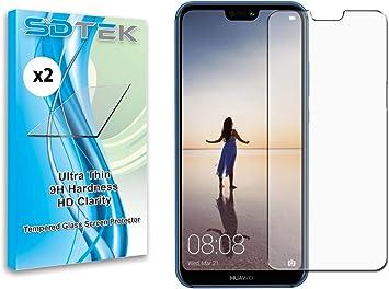 SDTEK *2 Pack Protector de Pantalla para Huawei P20 Lite Cristal ...