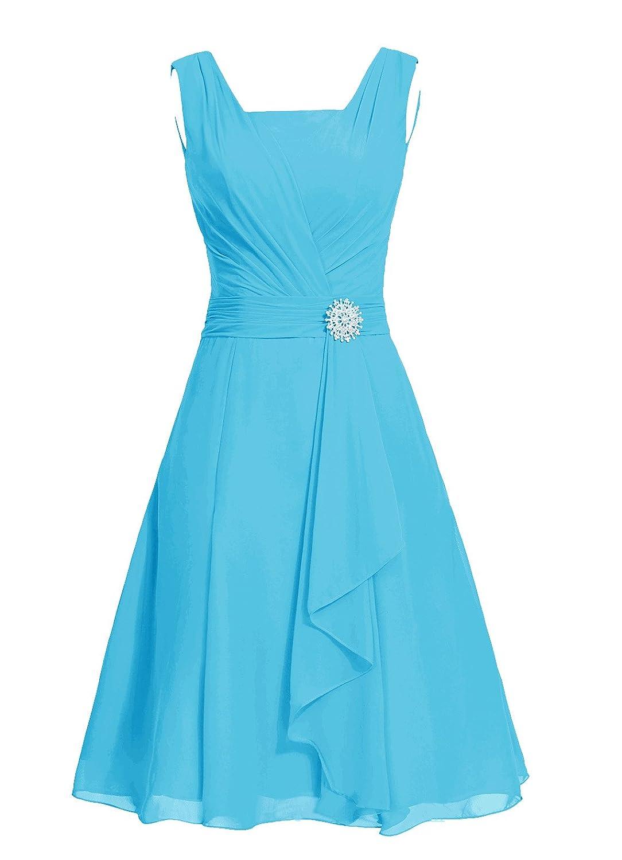Dresstell レディーズ ショート丈 お呼ばれ 結婚式ドレス シンプルシフォン ビスチェタイプ 披露宴 フォーマルドレス 袖なし ビジュー付き ブライズメイドドレス 二次会ドレス B0114FJ5GY JP7|ブルー ブルー JP7