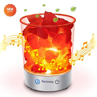 Himalayan Salt Lamp Bluetooth Speaker, Relassy Pink Salt Lamp Night Light With Music, Home Decor Usb Salt Lamp With Touch Dimmer Switch,3 Bulbs,Cord,Adapter by Relassy