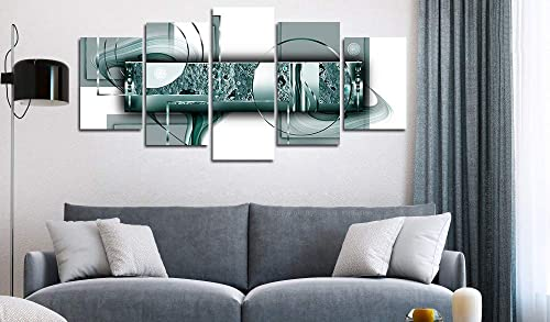 yj_art Green Abstract Canvas Print Painting Home Decor 5 Panels Turquoise Wall Art Picture