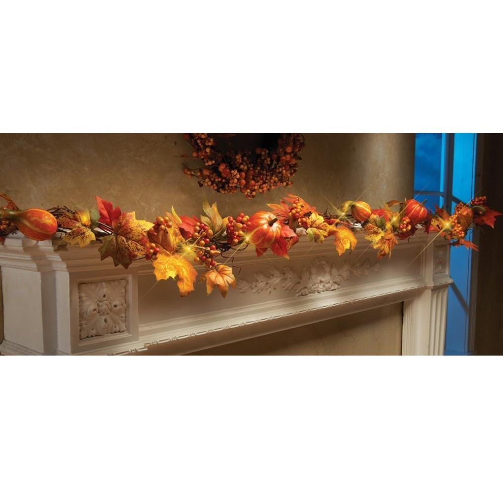 Promisen 1.8M LED Lighted Fall Garland,Pumpkin Maple Leaves Garland with Pumpkins, Sunflowers, Maple Leaves, Pine Cones, and Berries Decor For Thanksgiving Day (Mulitcolor)
