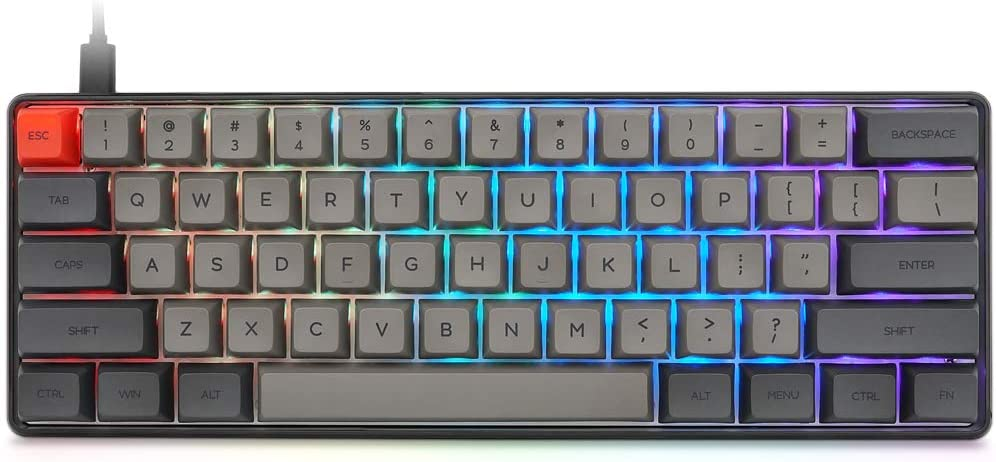 Epomaker SK61 61 Keys Hot Swappable Mechanical Keyboard with RGB Backlit, NKRO, IP6X Waterproof, Type-C Cable for Win/Mac/Gaming (Gateron Optical Brown, Black)