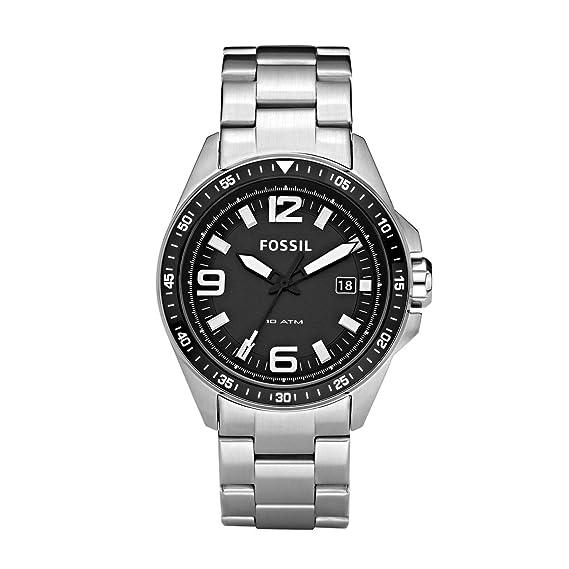 FOSSIL AM4360 - Reloj analógico de cuarzo para hombre con correa de acero inoxidable, color plateado: Amazon.es: Relojes