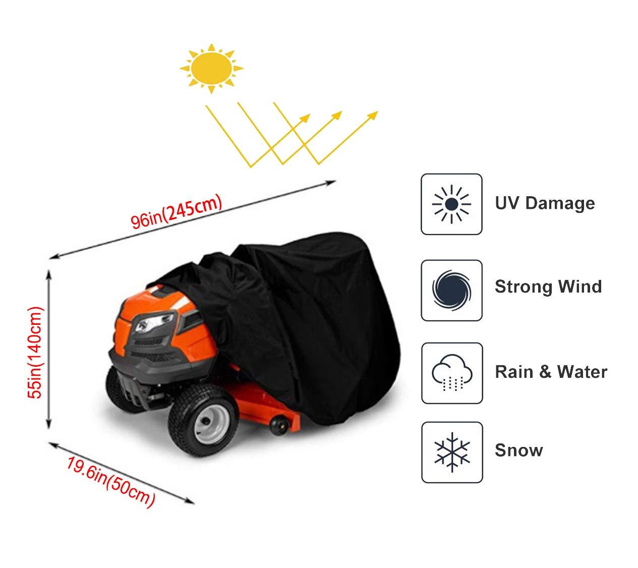 a prueba de polvo para funda de protecci/ón tela Oxford impermeable para uso pesado cubierta para tractores de c/ésped resistente al agua y a los rayos UV Cubierta para cortac/ésped
