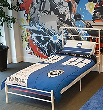 Doctor Who Kinder Bettwäsche Tardis Einzelbett Weißblau Amazon