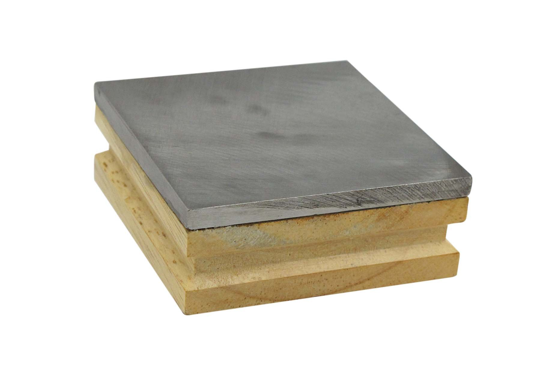 SE JT33WB Steel Bench Block with Wood Base, 3'' x 3''