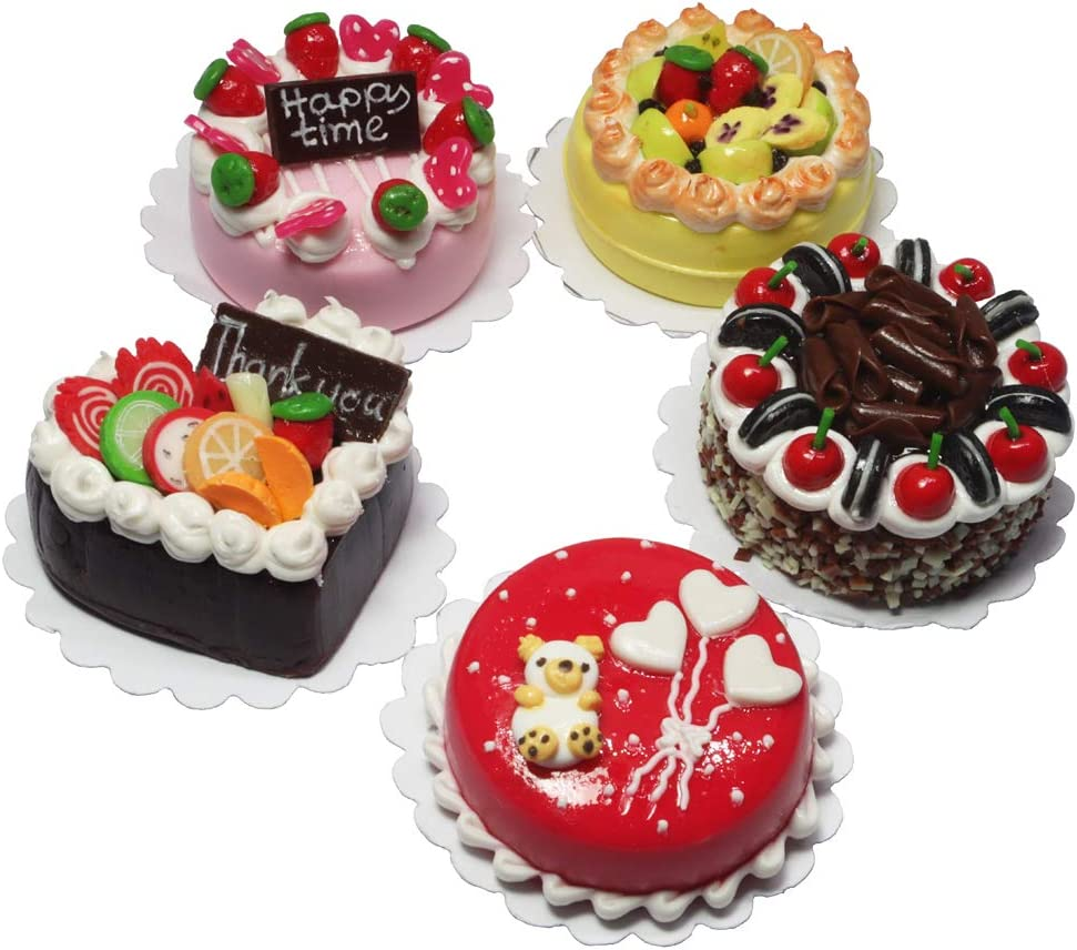 ThaiHonest Lovely Mixed 5 Assorted Cake Dollhouse Miniature Food,Tiny Food