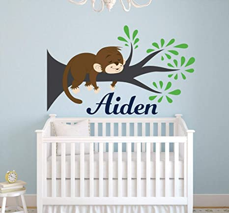 Amazoncom Monkey Name Wall Decal Monkey Wall Decal Nursery