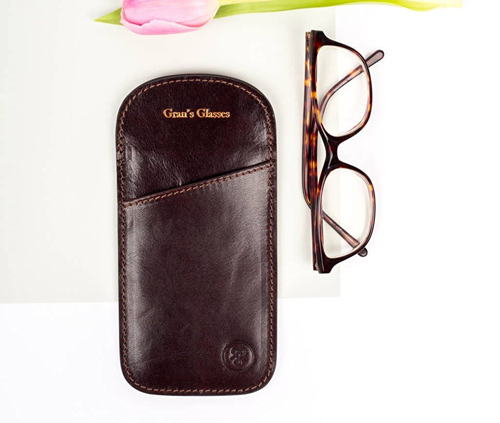 Rufeno Brown Maxwell Scott Personalised Real Italian Leather Glasses Holder