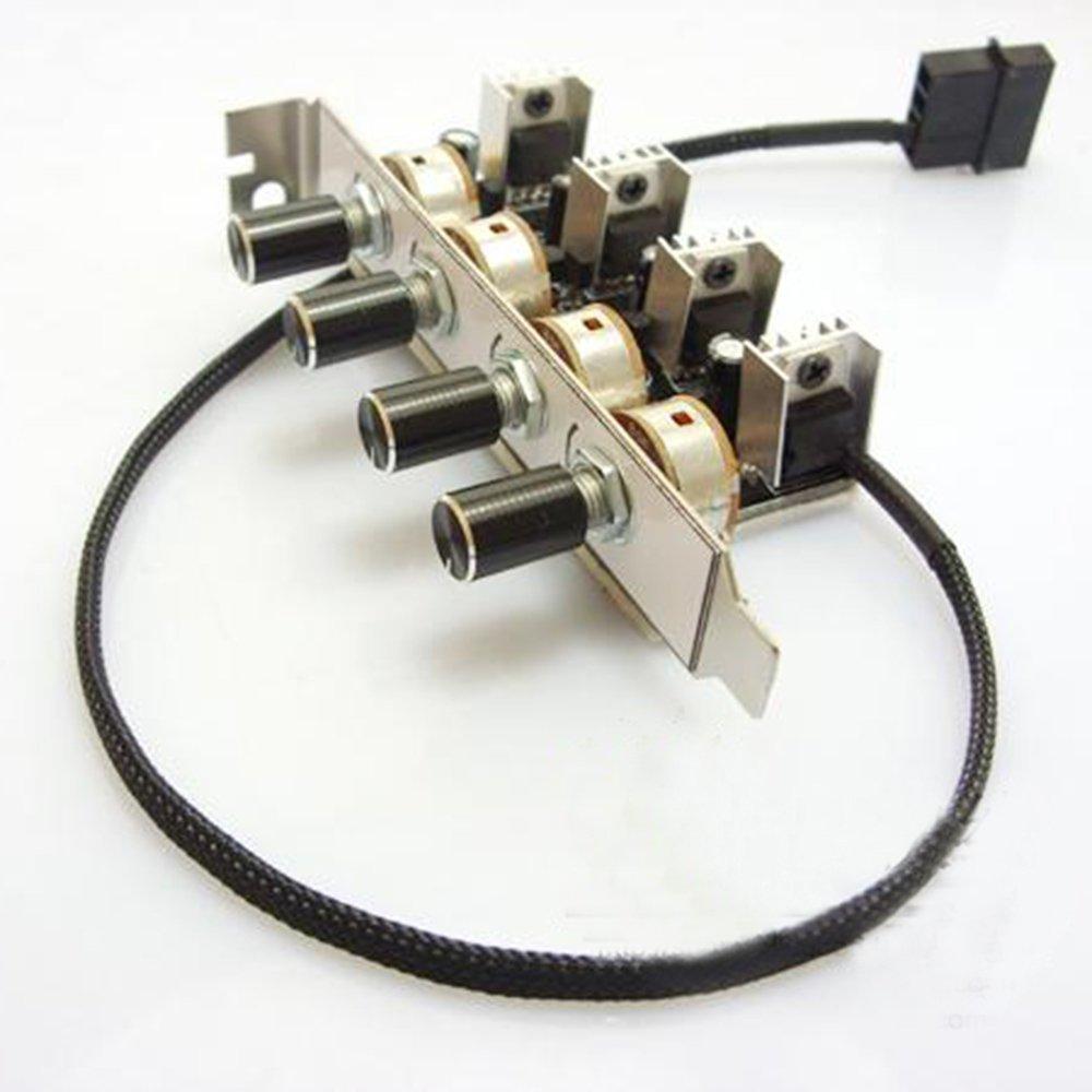 Bykski PC 4 Channel 3-Pin 3pin PCI Cooling Fan Speed Controller Support Turn OFF fan