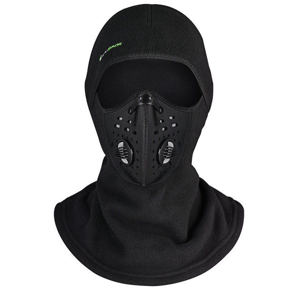 ROCKBROS Winter Cycling Windproof Bike Headscarf with Anti-Haze Mask Ski Balaclava Black