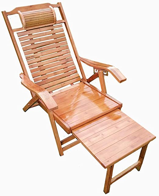 NO BRAND Tumbonas Jardin Larga Plegable Silla de bambú Largo de múltiples Posiciones reposapiés Ajustable extendió sillas al Aire Libre a la terraza del jardín ...