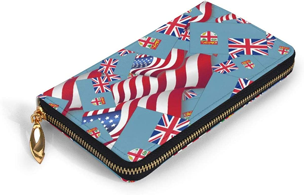 Fiji Flag With America Flag Wallets For Men Women Long Leather Checkbook Card Holder Purse Zipper Buckle Elegant Clutch Ladies Coin Purse