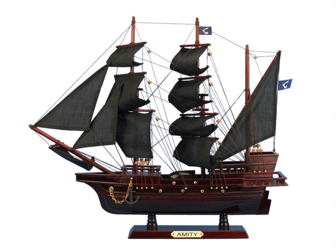 Hampton Nautical Wooden Thomas Tew's Amity Model Pirate Ship, 20''