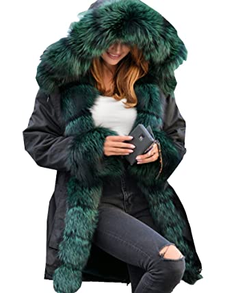 0989225d034 Roiii Ladies Quilted Casual Vintage Faux Fur Collar Warm Thick Womens  Jacket Coat (Small