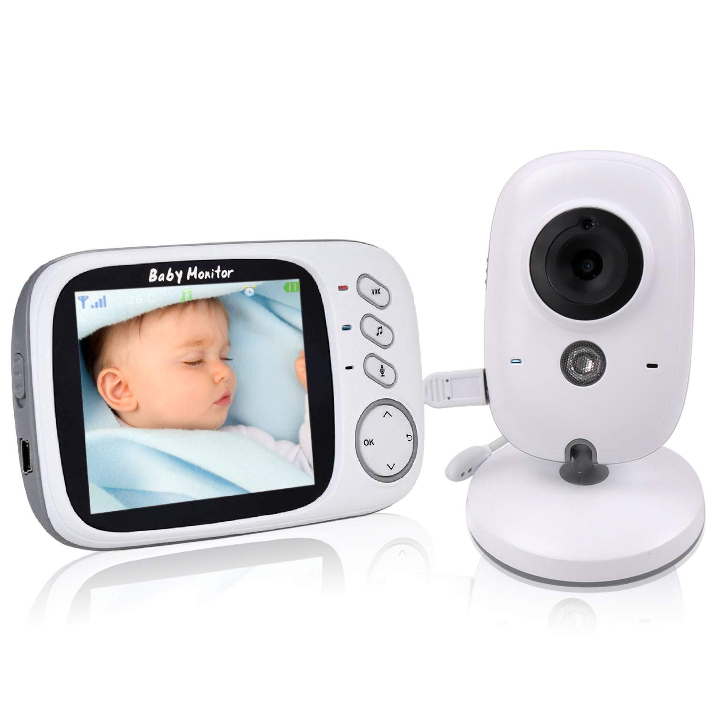 COLORWAY Babyphone mit Kamera, Wireless Baby Monitor, video babyphone, Gegensprechfunktion Digital mit Temperatursensor Schlaflieder Nachtsicht weiß VB602