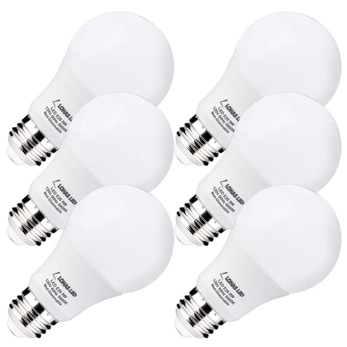 LOHAS A19 LED Bulb Daylight Light, 60Watt Bulbs Equivalent