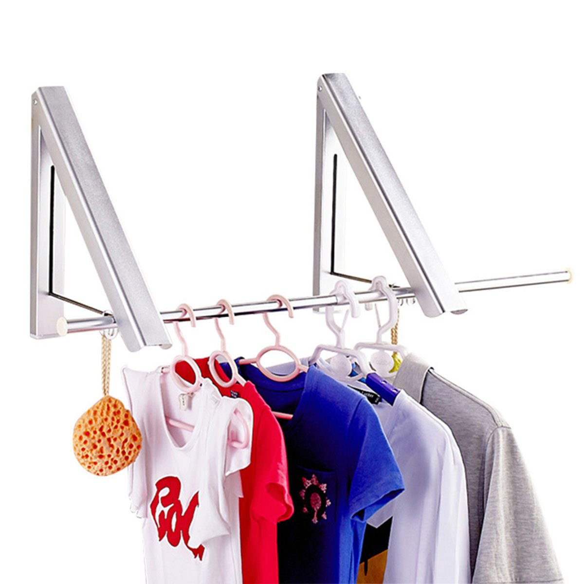 Yesurprise Wall Mounted Clothes Hanger Folding Closet Rods Retractable Clothes Rack Drying Coat Racks Portable Closet Storage Organizer Space Savers for Home Bathroom Bedroom Lavatory Balcony Laundry