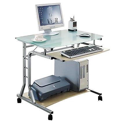 SixBros. Mesa de Ordenador Enrollable Vidrio/Arce - CT-3791A/41 - Vidrio opalino - Estructura Metal - MDF Arce