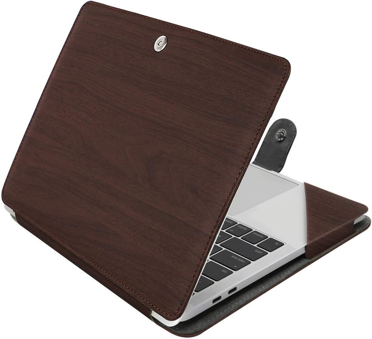 MOSISO Case Compatible with 2020-2018 MacBook Air 13 A2337 M1 A2179 A1932/2020-2016 MacBook Pro 13 A2338 M1 A2251 A2289 A2159 A1989 A1706 A1708,PU Leather Folio Protective Cover, Wood Grain Deep Brown