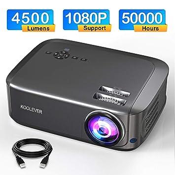 Proyector, 1080P Full HD 4500 lúmenes 50000 Horas de Video ...