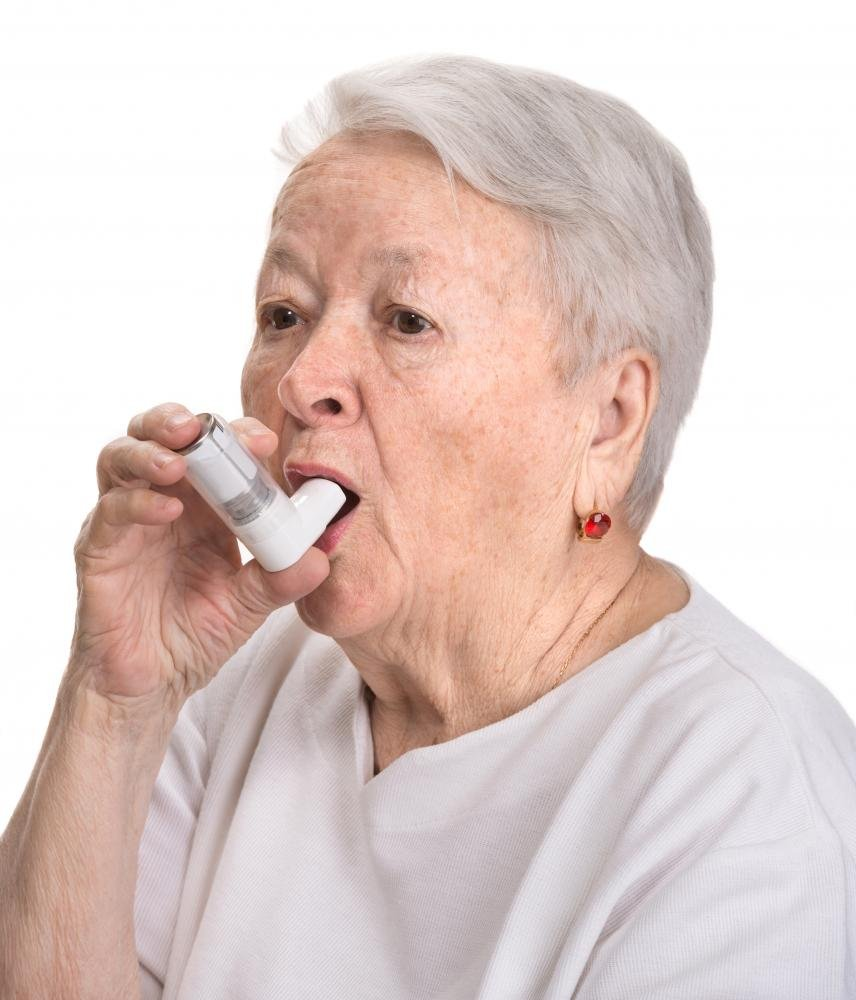 Wallmonkeys Senior Woman with Asthma Inhaler Peel and Stick Wall Decals WM335116 (18 in H x 15 in W)