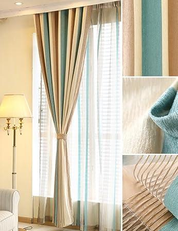 ZCJB Vorhänge American Style Spleißen Farbe Vertikale Streifen Imitation  Chenille Schlafzimmer Wohnzimmer Boden Bis Decke Fenster