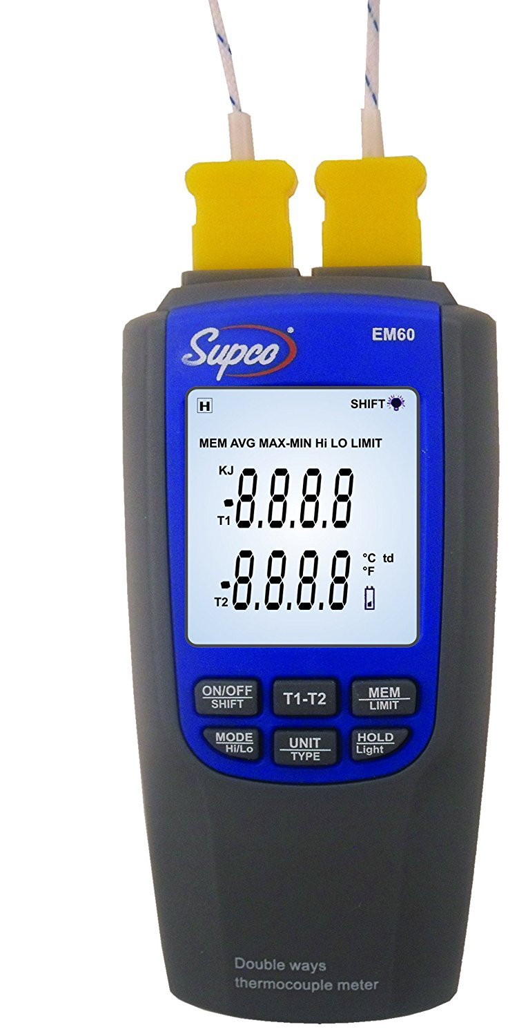 Supco EM60 Dual-Channel Differential Digital Thermocouple Thermometer with Probes, -200 to 1300 Degrees C, -328 to 2372 Degrees F, Accuracy of + or - 0.1% of reading + 0.7 Degree C