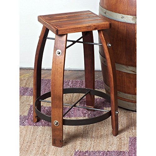 2 Day Designs Reclaimed 24-Inch Stave Wine Barrel Counter Stool with Wood Seat (Wine Barrel Counter Stool)