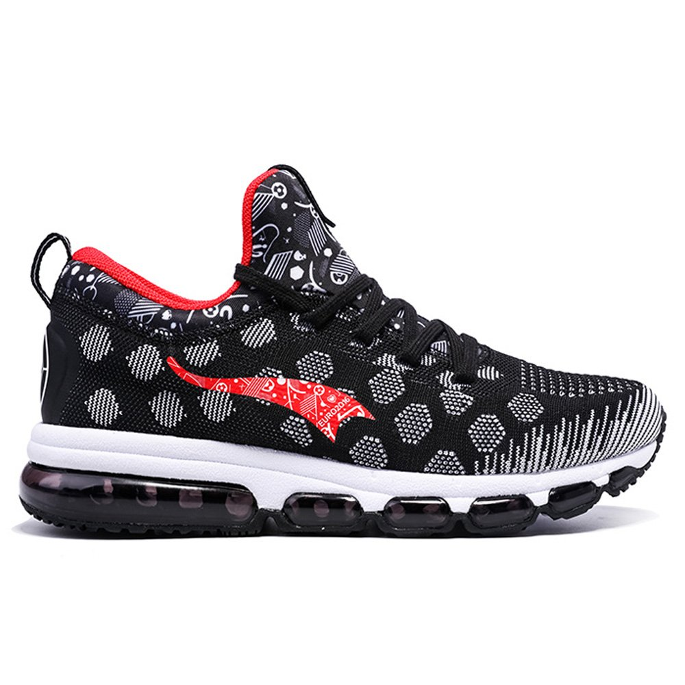 ONEMIX Mens Mesh Sneakers Air Cushion Running Walking Traling Shoes Black White Red Size 7.0 US by ONEMIX (Image #2)