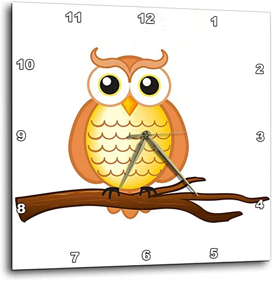 3dRose dpp_165566_1 Orange Wise Owl-Wall Clock, 10 by 10-Inch