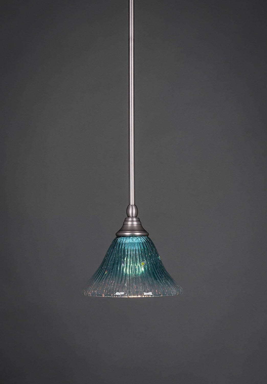 Toltec Lighting 23-BN-505 Stem Mini-Pendant Light Brushed Nickel Finish with White Marble Glass 7-Inch