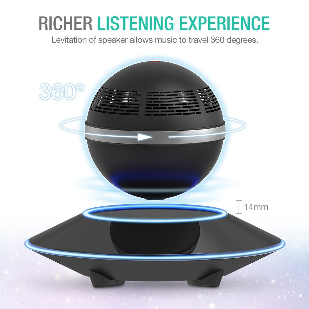 Levitating Bluetooth Speaker, ZVOLTZ Portable Floating Wireless Speaker with Bluetooth 4.0, 360 Degree Rotation, Built-in Microphone, One Touch Control for Bluetooth Connected Devices - Matte Black by ZVOLTZ (Image #3)