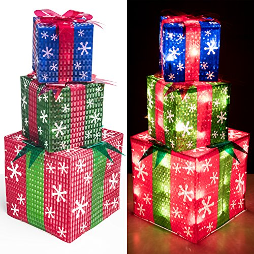 Large Product Image of Prextex Set of 3 Christmas Lighted Red Green and Blue Gift Boxes Small Medium and Large Present Boxes Best Christmas Yard/Home Décor