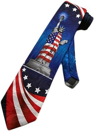 One Size Neck Tie Steven Harris Mens American Flag USA Necktie Red