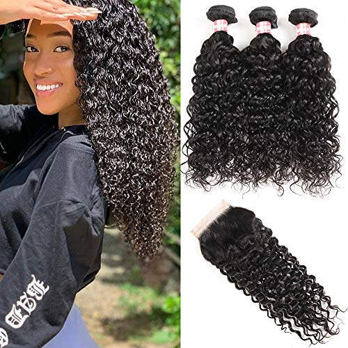 Yuling Brazilian Water Wave Bundles With Closure Wet And Wavy Human Hair Weave 3 Bundles With 5x5 Lace Closure 100% Unprocessed Virgin Remy Hair Extensions Free Part Natural Black Color(20 22 24 +18)