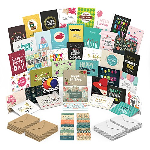 Happy Birthday Cards Assortment with 40 Unique Birthday Cards for Women, Men and Children. Heavy Cardstock and Superior Quality. Extra: 10 small assorted notes and envelopes for giving gift cards