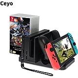 Ceyo Nintendo Switch 多機能縦置き スタンド 充電しながら遊ばれ Switch&Proコントローラー同時充電 6枚ソフト収納 Joy-Conストラップ&Switchドッグ収納 充電しながら遊ばれ ニンテンドースイッチ 充電器 Type-C 充電クレードル チャージャー
