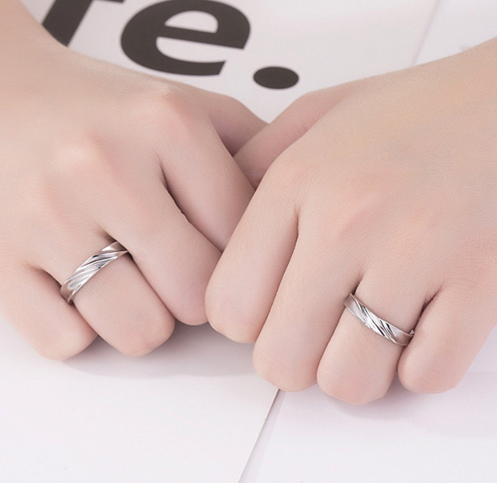 Little sheep Stylish Silver Ring Diamond-Encrusted Beautiful Couple ...