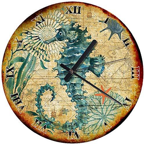 Seahorse Wall Clock Nautical Marine Ocean Wood Wall Clock 30cm(11,8