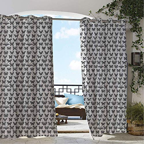 Linhomedecor Gazebo Waterproof Curtains Zentangle Repetitive Pattern Different Stylized Butterflies and Dots Print Charcoal Grey White Porch Grommet Privacy Curtain 84 by 96 inch -