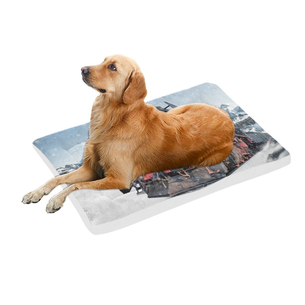 42\ your-fantasia Locomotive Train on Snowy Railway Pet Bed Dog Bed Pet Pad 42 x 26 inches