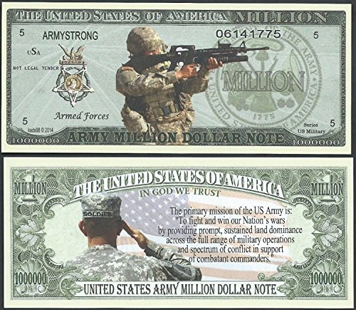 (Us Army Mission Million Dollar Bill Lot of 2)