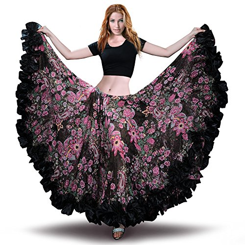 ROYAL SMEELA Womens Belly Dance Skirt ATS Voile Flamenco Skirts