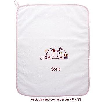 coccole- toalla con Asola Scuola Materna y guardería nido-macchina Rosa - rosa - 3 - 5 años - con nombre personalizado para Scuola Materna: Amazon.es: Bebé