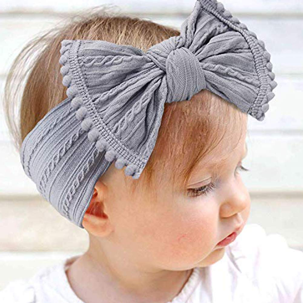 Baby Nylon Headbands Elastic Baby Hair Bows for baby girls Infant,Pack of 4